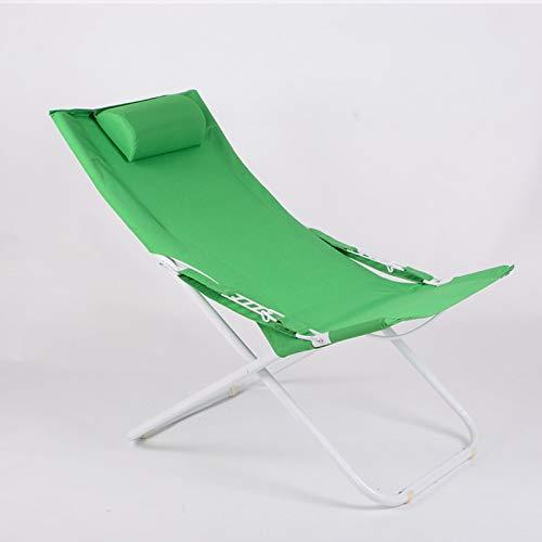 ZRKZ Relaxliege Klappstuhl Mittagspause Stuhl Tragbarer Außenklappbett Bürostuhl Campingbett Strandkorb,Green-103 * 58 * 80/45