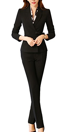 SK Studio Damen Hoseanzug Slim Fit Business Anzughose Karriere Lange Ärmel Hose Blazer Kombinationen Schwarz Blazer + Hose 38 Tag 2XL