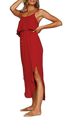 Formelle Kleidung Zu Cocktail-kleidern (ZJCTUO Damen Sommerkleid Spaghetti Strap Boho Lange Casual Elegant Kleider Partykleid Strandkleid)