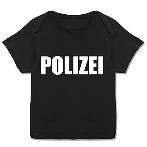 Karneval und Fasching Baby - Polizei Karneval Kostüm - 56-62 (2-3 Monate) - Schwarz - E110B - Kurzarm Baby-Shirt für Jungen und Mädchen