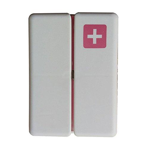 Portable Weekly Pill Box, 7 Compartimentos Imán Caja de Pastillas, Dispensador de vitaminas Pastilleros para Aire Libre y Viajes (rojo)