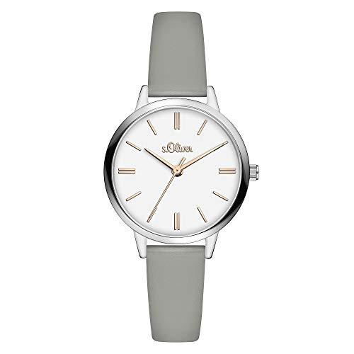 s.Oliver Damen Analog Quarz Uhr mit Leder Armband SO-3808-LQ