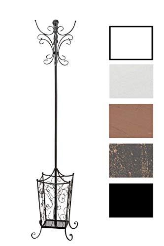 garderobe mit schirmstaender CLP Garderobenständer LOLA mit offenem Schirmständer I Antike freistehende Garderobe aus Metall Schwarz
