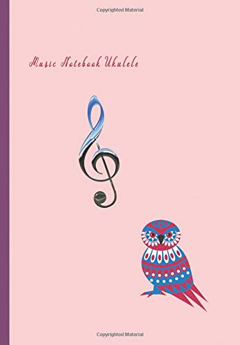 Music Notebook Ukulele: Composition and Songwriting Ukulele Music Song with Chord Boxes and Lyric Lines Tab Blank Notebook Manuscript Paper Journal ... or Musician Pink Color and Owl Bird Cover - Pink Music Box