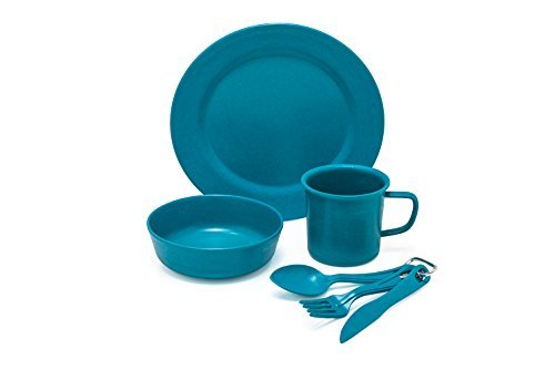 Camp Mess Kit. Premium Eco-Friendly, Bamboo Fiber, Biodegradable Camp Mess Kit. Lightweight, Practical, Perfect For Boys and Girls Scout Trips, School Camps, Family Vacations, Hiking and Backpacking. (Sherbet Blue)