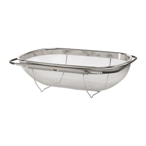 IDEALISK Colander, stainless steel, black, Size 34x23 cm, Fits most sink bowls since the handles can be adjusted, Dishwasher-safe.