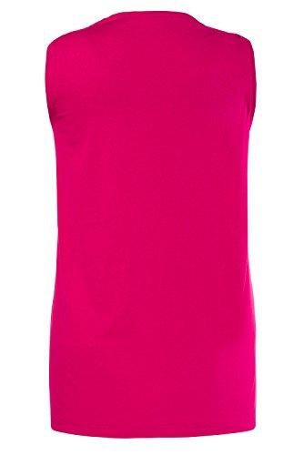 Ulla Popken Große Größen Damen große Größe bis 58+, Top, Trägertop, Trägerhemd  , Regular Fit , Seitenschlitzen, Uni , 666765 Pink