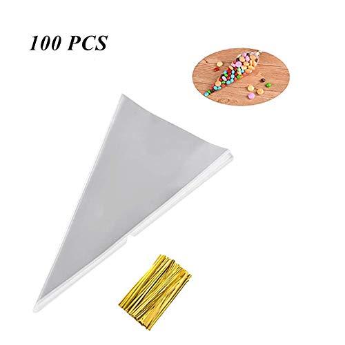 (MUXItrade 100 Stück Cone Tüte Süßigkeitentüten Opp Tütchen, Transparente Geschenk Verpackung für Schokolade, Bonbons, Puffreis)