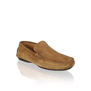 PAT CALVIN Schuhe Herren Slipper aus feinem Veloursleder, zeitlos klassischer Mokassin für Sommer in braun 42 EU