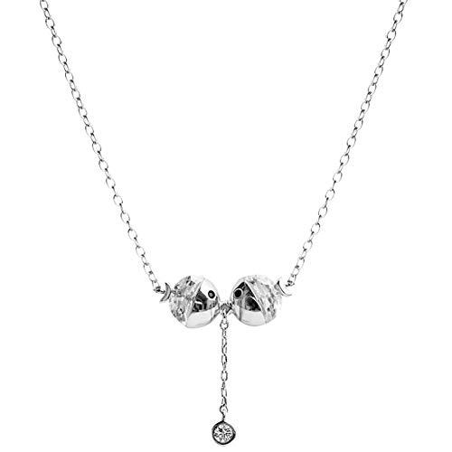 Womens Kiss Kostüm - S925 Sterling Silber Halskette Kiss Mouth Anhänger Lady Clavicle Kette Zubehör - Geschenk für Mutter Mädchen Freunde