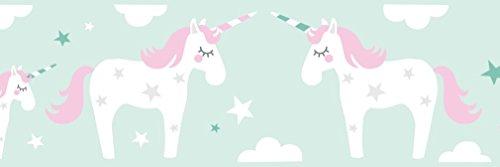 lovely label Bordüre selbstklebend EINHORN ROSA/MINT - Wandbordüre Kinderzimmer / Babyzimmer mit Einhörnern und Sternen in versch. Farben -...