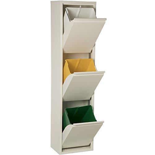 DRW Papelera Reciclaje Blanca 3 Cubos