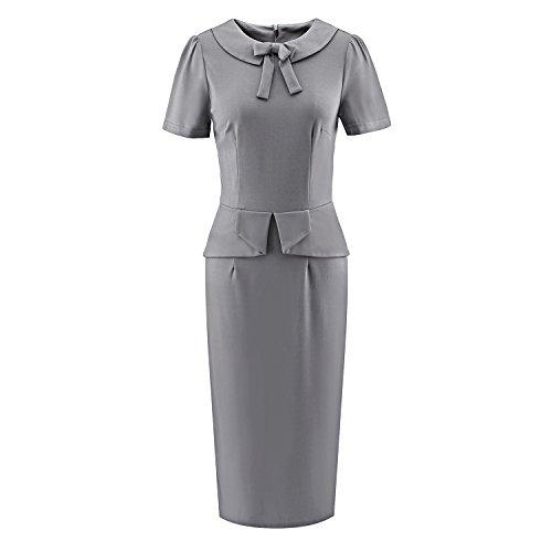 LUOUSE Damen 50er Elegant Stretch Kleider Cocktailkleid Bleistiftkleid AbendKleid Vintage Kleid A1707-Grau