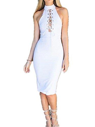 BOMOVO Damen Rundhals Kleider A-Linie Ärmellos Sommerkleid Gürtel Etuikleider Weiße Kleider Bustierkleid Weiß
