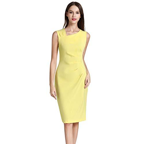 kolila Damen Retro 1950s Stil Ärmelloses schlankes Business Bleistift Kleid Elegante einfarbige unregelmäßige Kragen Knie Kleider(Gelb,L) -