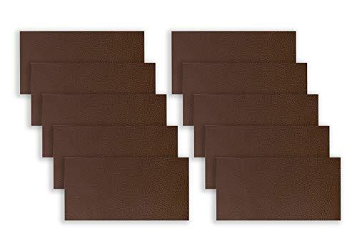 10 piezas de parches de reparación de cuero, 10,16 x 20,3 cm, kit de adhesivo de piel para sofá, sofás, asientos de coche, bolsos, chaquetas Drak Brown