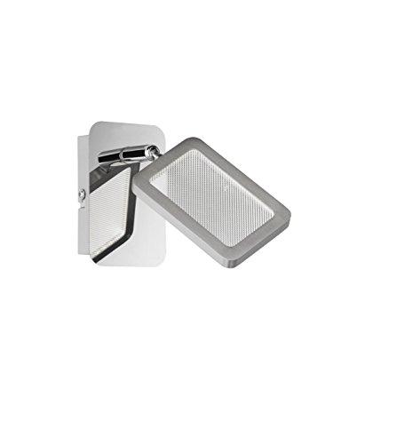 WOFI 4261.01.54.6000 A+, Spot, Metall, 4.2 watts, Integriert, Nickel matt/Chrom, 12 x 7 x 14 cm (Acryl Poliert Matt Chrom)