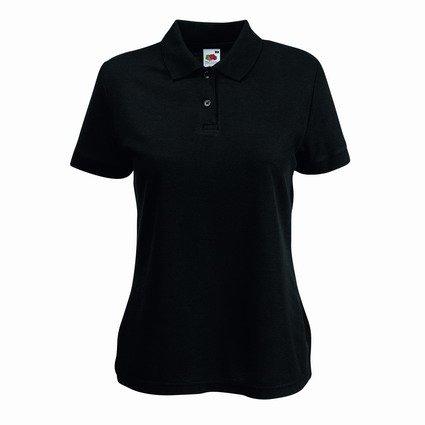 Fruite of the Loom Damen Lady-Fit 65/35 Pique Polo Shirt, vers.Farben L,Schwarz (Pique Polo-shirt)