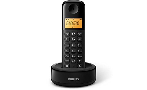 Philips Schnurloses Telefon/53Anrufe-ID Schwarz–DECT-Telefon (DECT, Desk/Ceiling, schwarz, 100–240, 50/60, AAA)