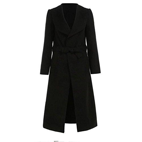 Schwarze Lange Pullover Duster (Damen Jacken,Honestyi Damen lang Duster Jacken French Belted Graben Wasserfall Mantel (XL, Schwarz))