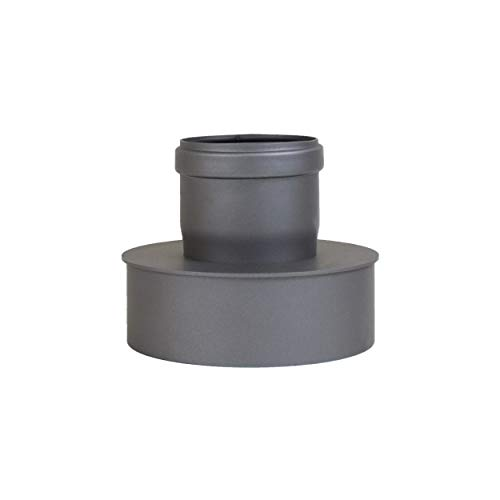 Pelletrohr Ofenrohr Pellet Rauchrohr Kaminrohr Erweiterung Ø 80mm auf 130 mm Ø 80mm auf 150 mm grau schwarz (Ø 80mm auf 150 mm, grau)