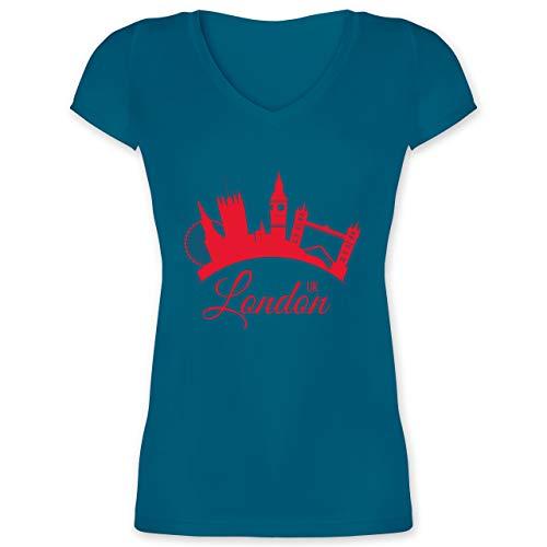 Skyline - Skyline London UK England - XL - Türkis - XO1525 - Damen T-Shirt mit V-Ausschnitt