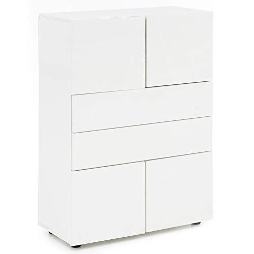 FineBuy Highboard FB52261 Holz 76x109x35 cm Modern Sideboard Hochglanz | Kleiner Holzschrank Weiß | Kleine Puristische Kommode | Schmaler Flurschrank mit Schubladen | Schubladenschrank