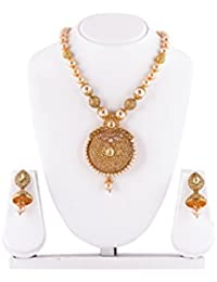 Mukh Jeweller Gold Plated Necklace Set With Pearls And Earrings For Women