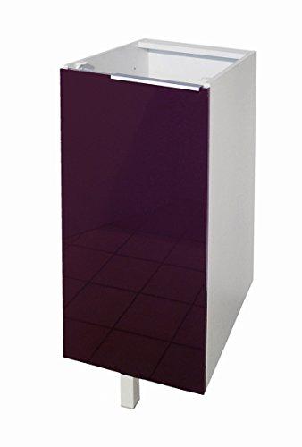 Berlenus CP3BA Küchenunterschrank, 1 Tür, 30cm, Hochglanz Aubergine