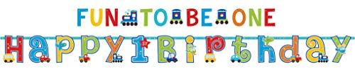 amscan Partyketten All Aboard Birthday 25 x 320 cm & 10 x 183 cm (Happy Halloween Und Happy Birthday)