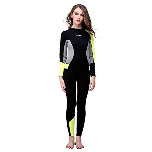 Overmal Dünner Neoprenanzug für Damen, Dehnbar Lycra Stoff Ganzkörper Lang Ärmel UV-geschützt Rash Guard Badeanzug Badebekleidung Wassersport Anzug für Schnorcheln Tauchen Schwimmen Surfen -