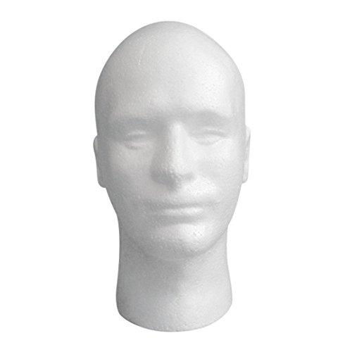 Holeider Männlich Kopf Modell,Styropor Schaum Schaufensterpuppe,Dummy-Perücke Brille Hut Display-Ständer
