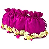 Line N Curves Decorative Velvet Flower Potli Pouch For Pooja Item Storage, Wedding Gift Pack, Dry Fruit Packing, Trousseau Packing (Pack Of 5 In Pink Color)