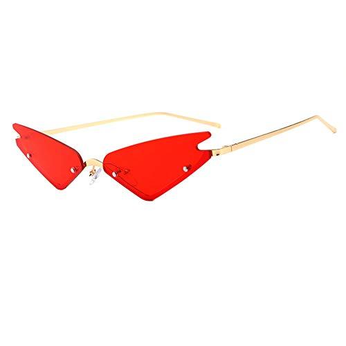 Unbekannt Uv400 Cat Eye Sonnenbrille Spitzen Dreieck Sonnenbrille Multicolor Optional Kleine Randlose Dreieck Sonnenbrille Männer Frauen Mode Spiegelgläser,B