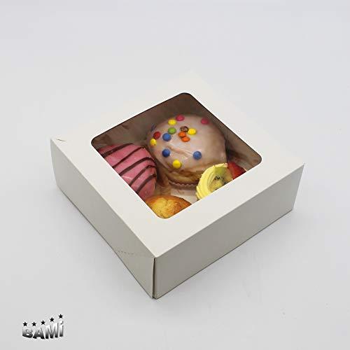 BAMI 35 Stück Tortenkarton Kuchenkarton Konditorkarton Tortenbox aus Vollpappe, 16x16x8cm weiß mit Sichtfensterdeckel