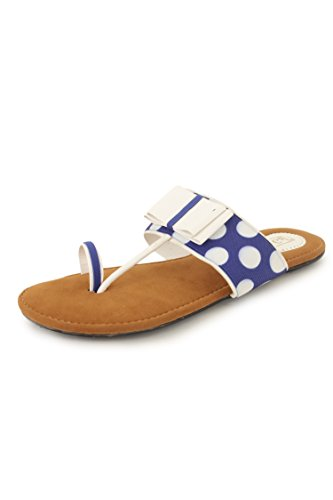 N-Gal Women's Blue-White Leather Casual Slippers - 3 UK