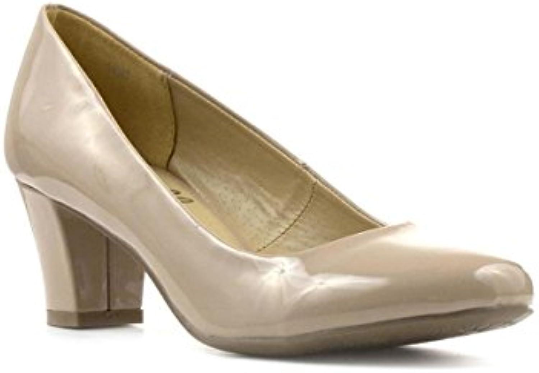 Lilley - Zapato de salón con tacón en Bloque, acharolado, Color Piel, para Mujer Lilley
