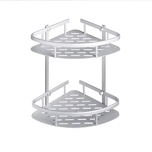 HhGold Badezimmer-Regal, Dusche-Eckwinkel, Dreieck-Korb-Speicher-Blau, Multifunktionsspeicher-Doppelschicht-Netz-Blau Wand, Aluminiumlegierung, Silber (Größe: 21 * 5,2 * 35,8 cm) -