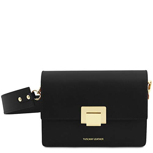Adele Clutch (Tuscany Leather Adele Clutch aus Leder Schwarz)