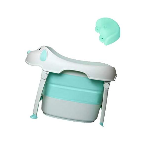 AIYE Baby Bathtub Folding Bathtub Children's Bathtub Thicker Insulated Bathtub Multifunctional Bathtub (Seat) (Color : Pink/Blue/Green) 3
