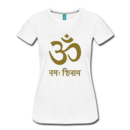 Spreadshirt OM Namah Shivaya Sanskrit Zeichen Symbol Buddha Frauen Premium T-Shirt, L (40), Weiß