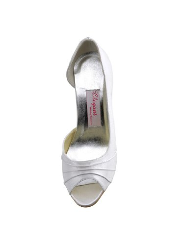 ElegantPark EL-1819 Escarpins satin Plisse bout ouvert a enfiler Femme Chaussures de mariee mariage Ivoire