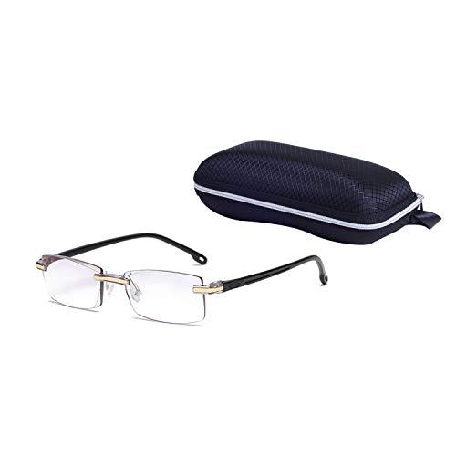Rahmenlose Lesebrille Anti-Blaulicht für Herren +2.0 (55-59 Jahre) Schwarz Mode Diamant Cut Edge Designer Ultraleicht Presbyopische Gläser mit Etui