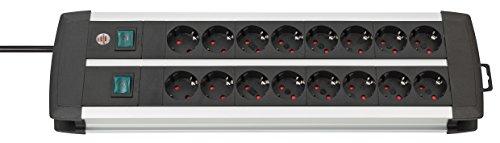 Brennenstuhl Premium-Alu-Line, Steckdosenleiste 16-fach - Steckerleiste aus hochwertigem Aluminium (mit 2 Schaltern für je 8 Steckdosen und 3m Kabel) Farbe: schwarz