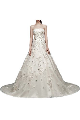 Victory Bridal Elegant Hochzeitskleider Brautkleider Brautmode Steine Stoffblumen Lang Schleppe Elfenbein