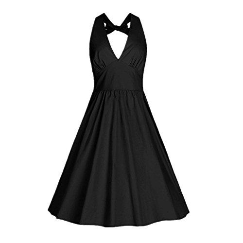 BOMOVO Damen Halter 50s Rockabilly Audrey Dress Retro Cocktail kleider Partei Kleid Ärmellos Sommerkleider Schwarz