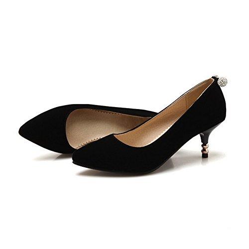 AllhqFashion Femme Tire à Talon Correct Suédé Mosaïque Pointu Chaussures Légeres Noir