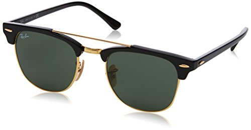 RAYBAN JUNIOR Unisex-Erwachsene Sonnenbrille Clubmaster Double Bridge, Black/Green, 51