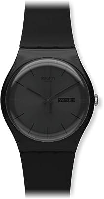 Swatch SUOB702 - Reloj analógico de mujer de cuarzo con correa de plástico negra