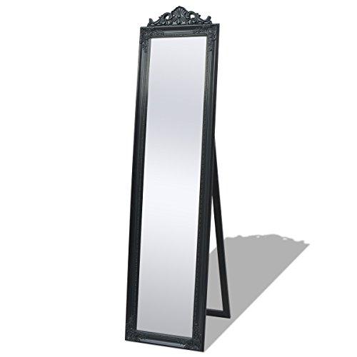 vidaXL 243694 - Specchio con piedistallo, Stile Barocco, 160 x 40 cm, Nero, Legno, Misura Unica